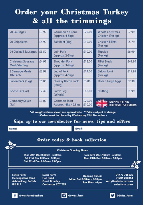 Christmas Offers 2018 - Swiss Farm Butchers Ipswich & Colchester